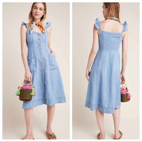Anthropologie Dresses & Skirts - 🆕 NWT Anthropologie button front denim midi dress